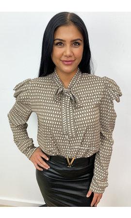 BEIGE - 'CHAINS AYLANA' - INSPIRED PRINT PUFF SHOULDER BLOUSE