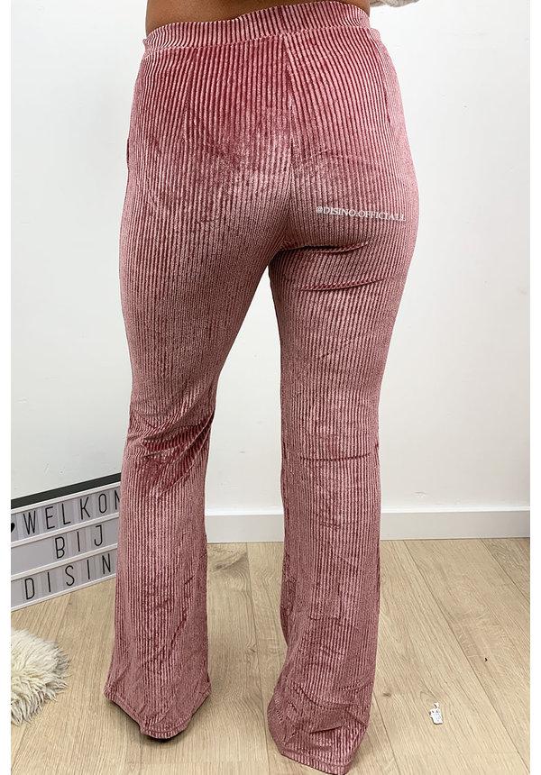 PINK - 'AMBER' - VELVET RIBBED FLARED PANTS