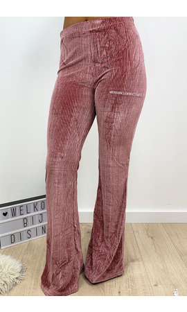 PINK - 'AMBER' - VELVET RIBBED FLARED PANTS
