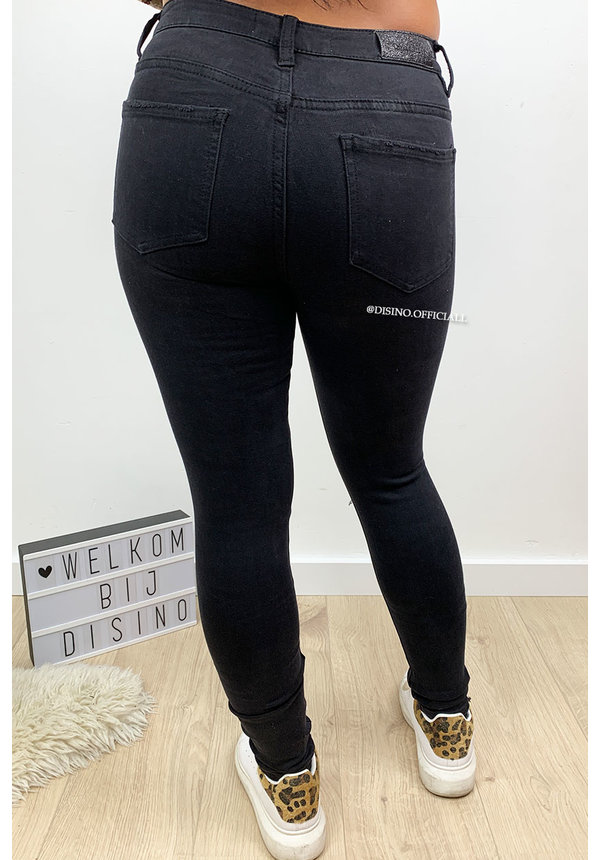 QUEEN HEARTS JEANS - BLACK - HIGH WAIST DESTROYED SKINNY JEANS - 692