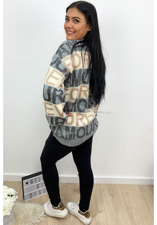 GREY - 'AMOUR IS MORE' - OVERSIZED SUPER SOFT KNITTED SWEATER