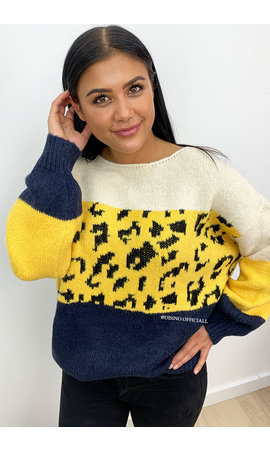 YELLOW - 'JILLIAN' - LEOPARD STRIPED KNITTED SWEATER