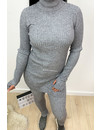 GREY MELANGE - 'REINA COL' - PREMIUM QUALITY RIBBED TWIN SET