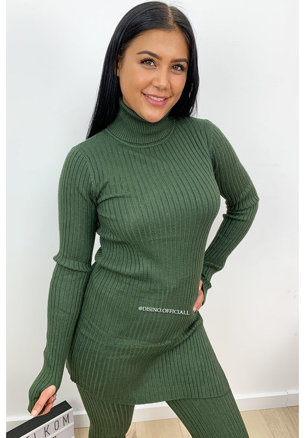 OLIVE GREEN - 'REINA COL' - PREMIUM QUALITY RIBBED TWIN SET
