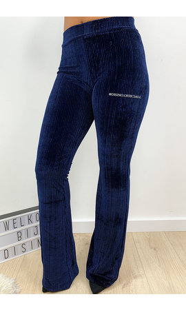 MIDNIGHT BLUE - 'AMBER' - VELVET RIBBED FLARED PANTS