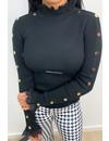 BLACK - 'EMILIE BUTTON UP' - CUTE RUFFLE LACE TOP