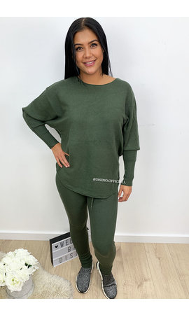 OLIVE GREEN - 'KARINE' - FASHIONABLE SOFT COMFY SUIT