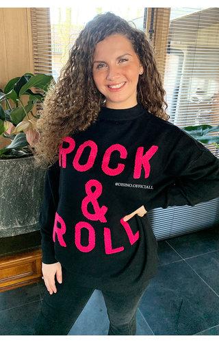 BLACK FUCHSIA - 'ROCK 'N ROLL' - PREMIUM QUALITY OVERSIZED SWEATER