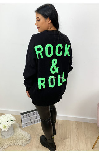 BLACK NEON GREEN - 'ROCK 'N ROLL' - PREMIUM QUALITY OVERSIZED SWEATER
