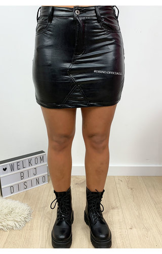 BLACK - 'BELLA SKIRT' - VEGAN LEATHER SUPER STRETCH MINI SKIRT