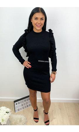 BLACK - 'ROMY DRESS' - SOFT TOUCH RUFFLE MIDI DRESS