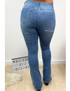 BLUE - 'BILLIE' - SUPER STRETCH DENIM FLARED PANTS
