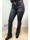 DARK GREY - 'BILLIE' - SUPER STRETCH DENIM FLARED PANTS - 079
