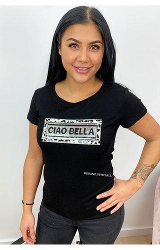 BLACK - 'LEO BOXES CIAO BELLA' - TEE