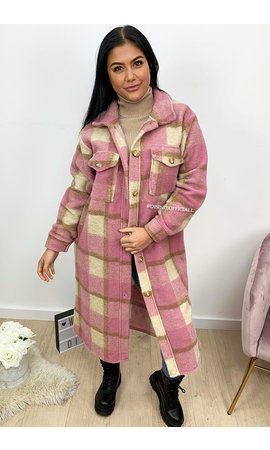 DUSTY PINK - 'JAYLIN MAXI' - LONG COZY CHECKED FLUFFY JACK