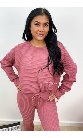 DUSTY PINK - 'MELISSA PANTS' - PREMIUM QUALITY COMFY RIBBED TWIN SET