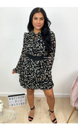 BLACK - 'DANIELLE' - FLORAL RUFFLE DRESS