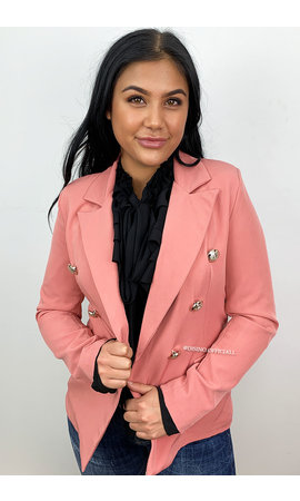 DUSTY PINK -  'KIMMY SHORT' - GOLD BUTTON BLAZER