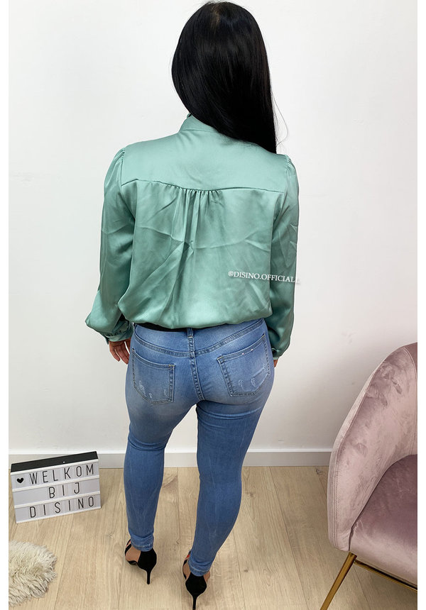 TURQUOISE - 'HARPER' - SATIN KNOT BLOUSE