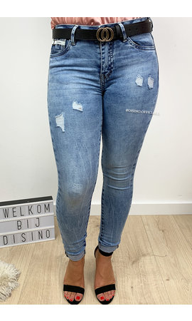 QUEEN HEARTS JEANS - BLUE - PERFECT SKINNY ROLL UP - 789