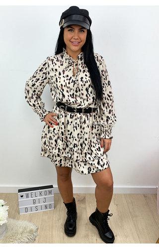 BEIGE - 'CANDICE DRESS' - LEOPARD PRINT LAYERED RUFFLE DRESS