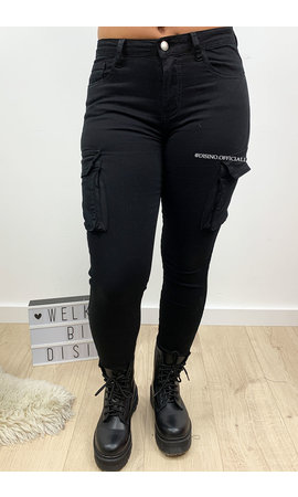 BLACK - 'ALEXA' - SUPER STRETCH DENIM CARGO PANTS