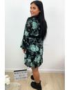GREEN - 'LILO' - FLORAL RUFFLE DRESS
