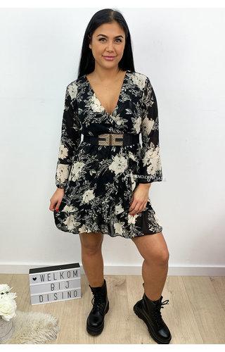 BEIGE - 'LILO' - FLORAL RUFFLE DRESS