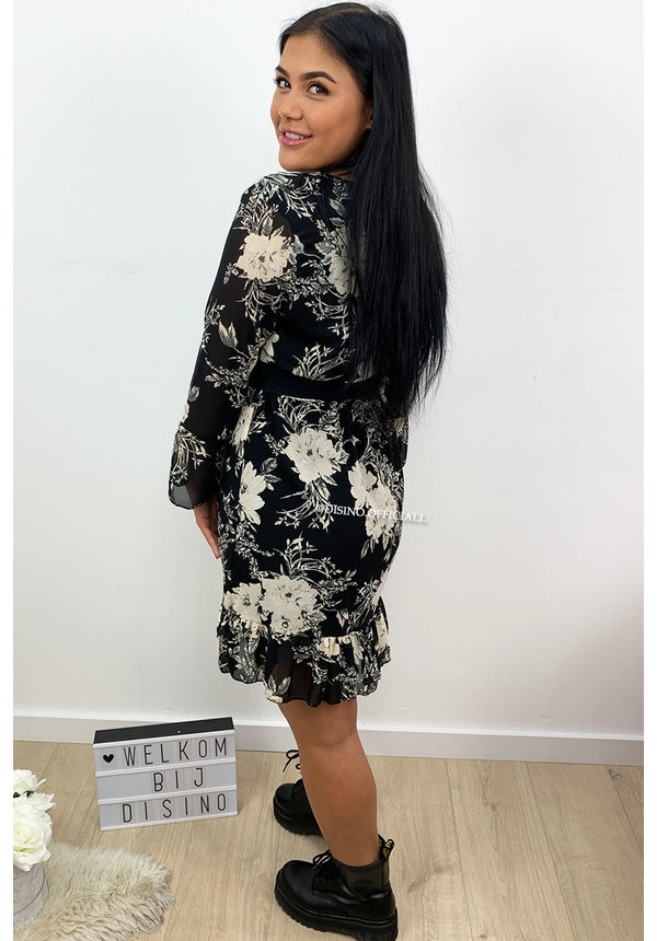 BEIGE - 'LILO' - FLORAL RUFFLE DRESS