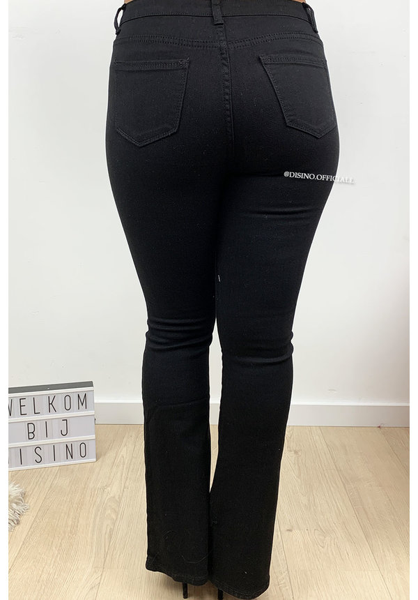 BLACK - 'BILLIE' - DENIM FLARED PANTS