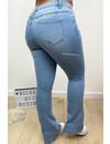 LIGHT BLUE - 'BILLIE' - SUPER STRETCH DENIM FLARED PANTS - 079