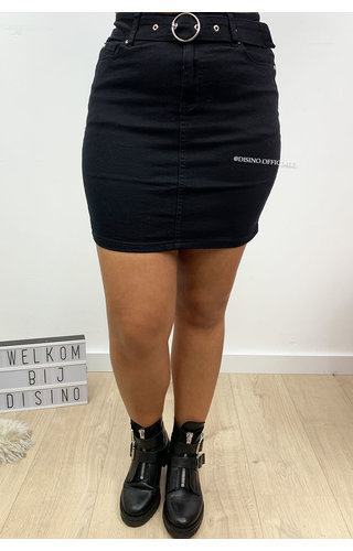 BLACK - 'NAYA' - SUPER STRETCH DENIM SKIRT