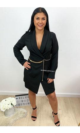 BLACK - 'FARRAH' - CLASSY BLAZER DRESS WITH CHAIN BELT