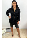 BLACK - 'JACLYN' - OVERSIZED DENIM BLOUSE DRESS WITH BELT