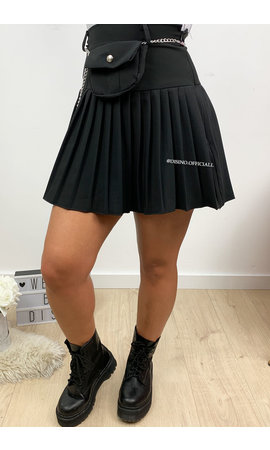 BLACK - 'ALISON' - PLISSE MINI SKIRT WITH BELT BAG