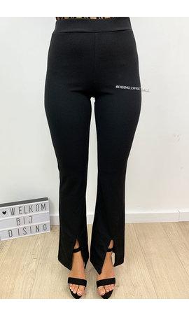 BLACK - 'ILONA' - FLARED PANTS WITH FRONT SPLIT