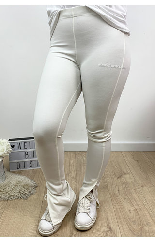 WHITE - 'NOELLE' - HIGH WAIST SIDE SPLIT PANTS