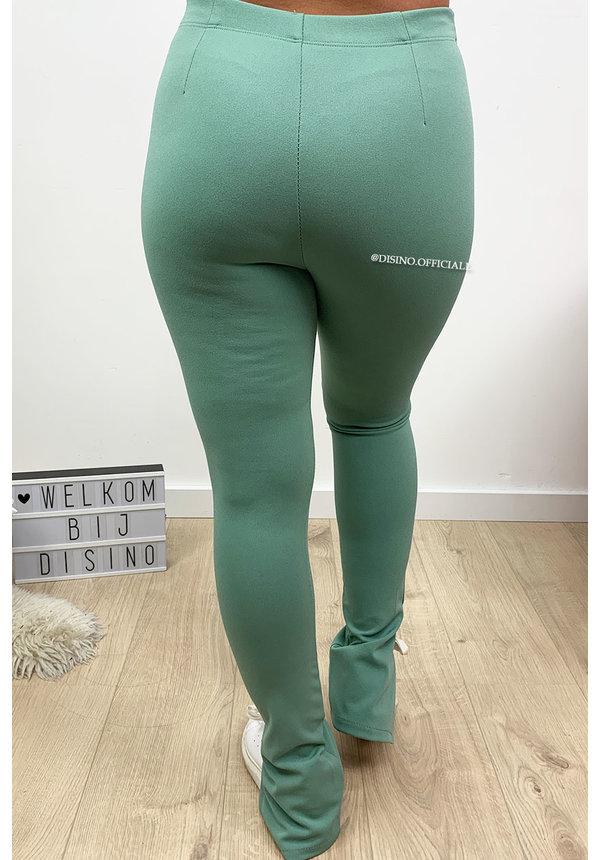 MINT GREEN - 'NOELLE' - HIGH WAIST SIDE SPLIT PANTS