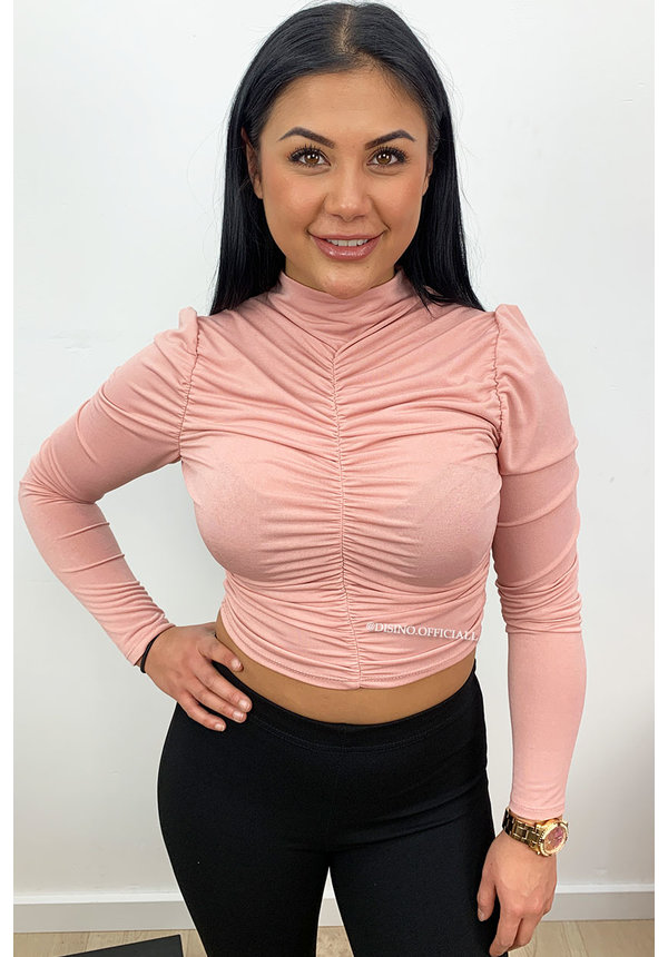 DUSTY PINK - 'MAYA' - RUCHED HIGH NECK CROP TOP