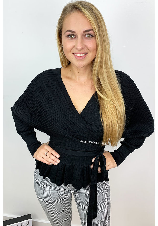 BLACK - 'SUZE' - KNITTED V-TOP PEPLUM