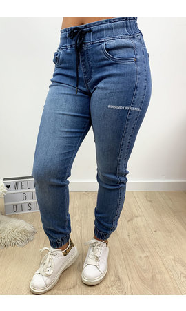 QUEEN HEARTS JEANS - LIGHT BLUE - DENIM JOGGER PANTS - 615