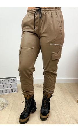 BROWN - 'CARGO KIKI' - VEGAN LEATHER CARGO PANTS