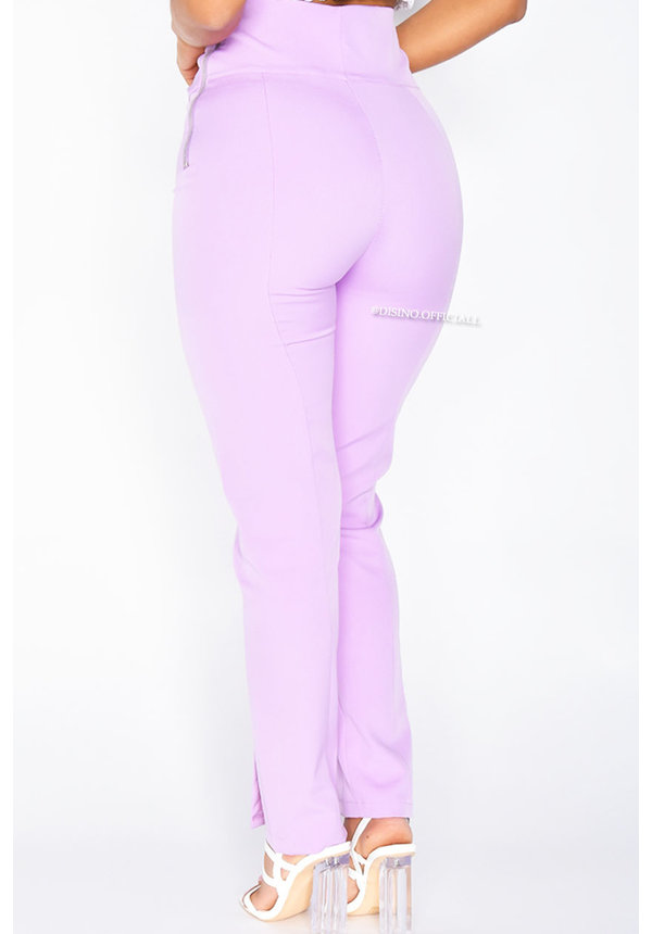 LILA - 'SILVIA' - HIGH WAIST PANTALON WITH ZIP AND FRONT SPLIT