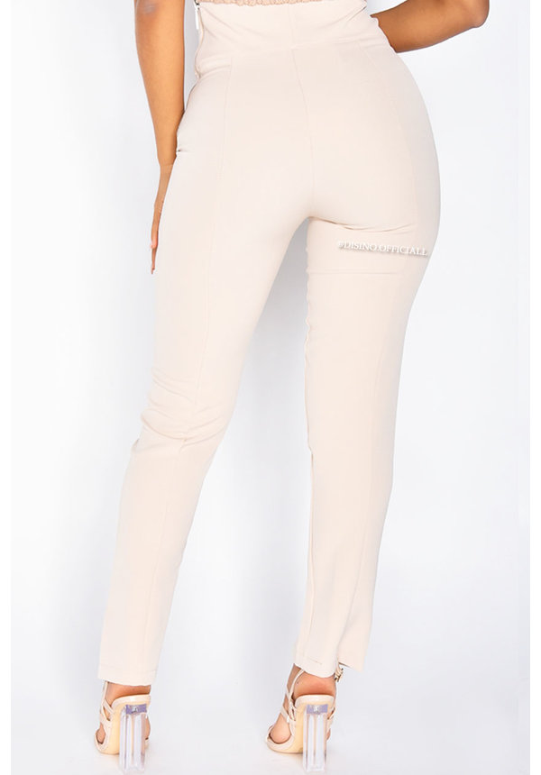 BEIGE - 'SILVIA' - HIGH WAIST PANTALON WITH ZIP AND FRONT SPLIT