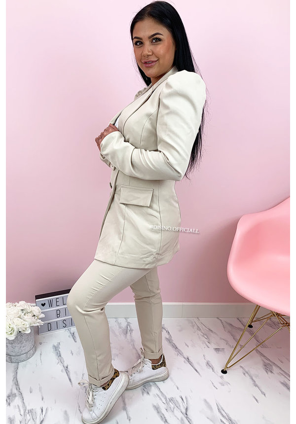 BEIGE - 'CHANEL' - CLASSY PUFF SLEEVE SUIT