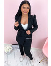 BLACK - 'CHANEL' - CLASSY PUFF SLEEVE SUIT