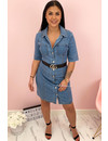 MEDIUM BLUE - 'AIDA' - REAL DENIM BUTTON UP DRESS