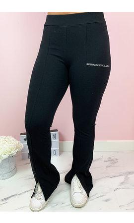 BLACK - 'AMBIKA' - PREMIUM QUALITY FRONT SPLIT FLARE PANTS