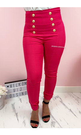 FUCHSIA - 'MAYSEY' - PREMIUM QUALITY GOLD BUTTON PANTS
