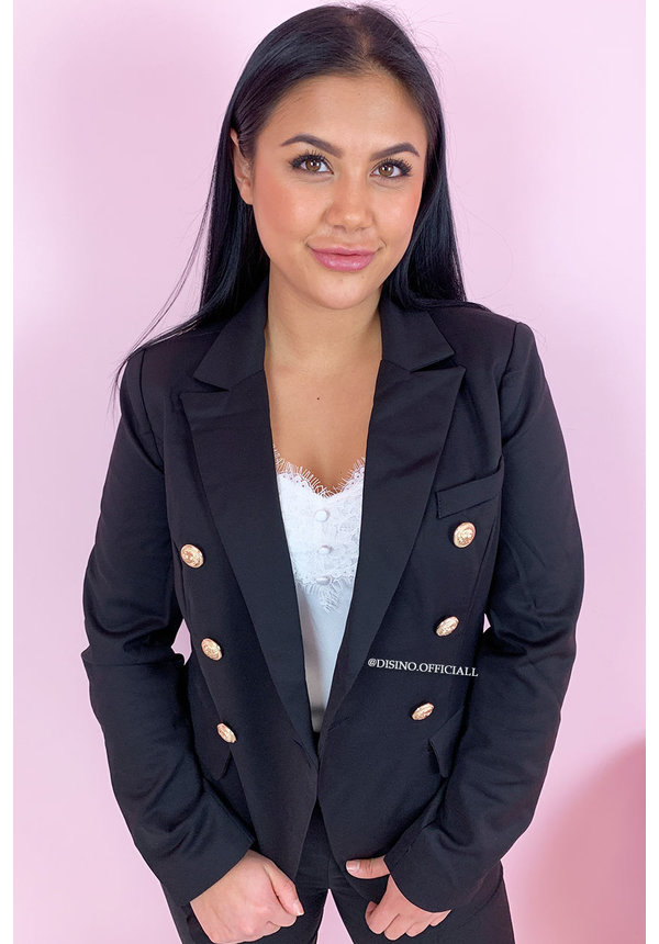 BLACK - 'MAYSEY' - PREMIUM QUALITY GOLD BUTTON BLAZER